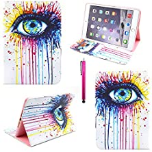 buy Galaxy Tab 3 Lite 7.0 Case, Casemart Cartoon Pattern Cover Soft Pu Leather [Book Style]Flip Skin Case Convenient [Card Slots] Designed For Samsung Galaxy Tab T110 (T119) -Eyes