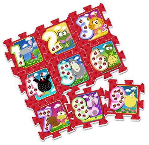 Stamp - Tp674001 - Puzzle De Sol - J'apprends Les Chiffres En M'amusant - Tapis Mousse - 88 X 88 X 1,5 Cm - 9 Pièces