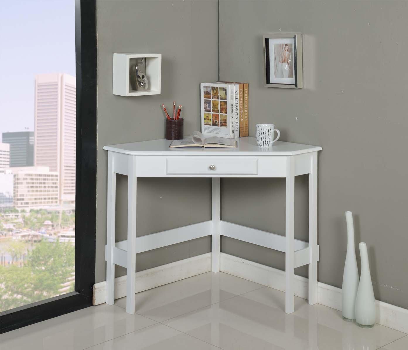 kings brand white finish wood corner desk with drawer new ebay. Black Bedroom Furniture Sets. Home Design Ideas