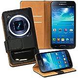 OneFlow PREMIUM - Book-Style Case im Portemonnaie Design mit Stand-Funktion - f�r Samsung Galaxy S4 Zoom (SM-C101 / SM-C1010) - SCHWARZ