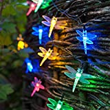 30 Multi Coloured LED Dragonfly Solar Garden Fairy Lights by Lights4fun