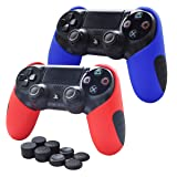 Skin Compatible for PS4 Controller Pandaren Soft Silicone Thicker Half Skin Cover Grip for PS4 /SLIM /PRO Controller (Skin X 2 + FPS Pro Thumb Grip X 8) (Red,Blule) (Color: Red, Blue, Tamaño: PS4 Thicker Half Cover)