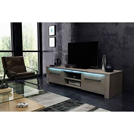 Sonesta – New York – Mueble TV contemporáneo Sonoma brillante + LED