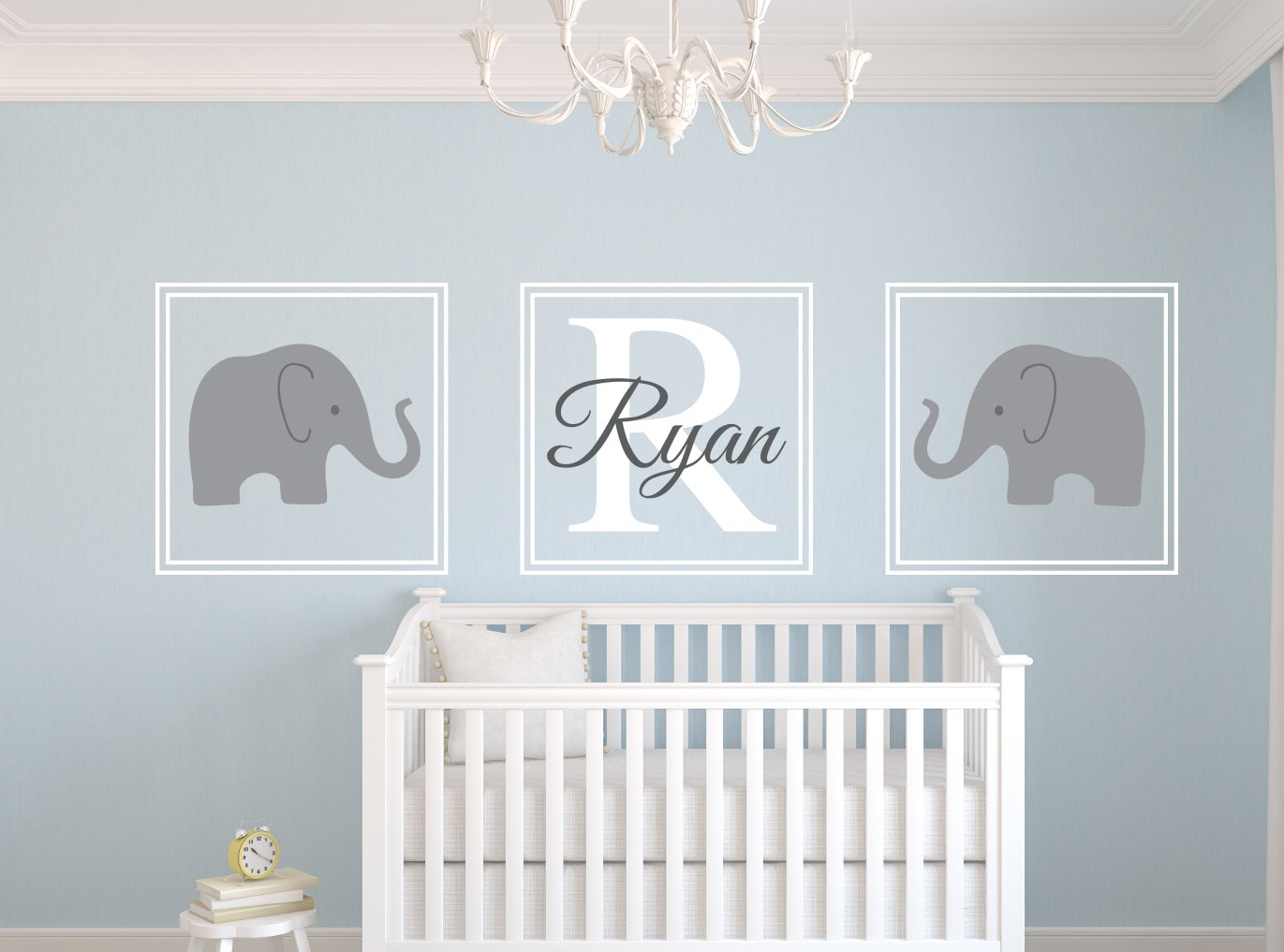 Gray crib bedding and nursery decor for Baby boy mural ideas