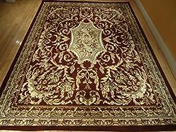 Beautiful Classic Burgundy Oriental Rug 8x11 Rugs Red 8x11 Rug Green Beige Cream 8x10 Rug Living Room Carpet Indoor Rugs (Large 8x11)