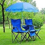Double Folding Chair w Umbrella Table Cooler Fold Up Picnic Camping Beach Garden