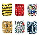 Alva baby cada paquete tiene 6pcs pañal y 2 inserciones ajustado pañal de tela (color unisex 1) 6DM19-ES