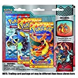 Pokemon Flashfire XY TCG Booster - Three (3) Pack with Fire Mega Charizard Pin