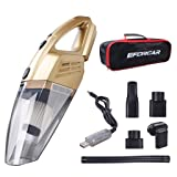EFORCAR Car Vacuum Cleaner, Cordless Wet/Dry Vacuum Cleaner with 2200mAH Rechargeable Battery (Non Removable & Pre-Installed),Carry Bag, 3KPA Powerful Suction Hand-held Vacuum Cleaner (12V 100W Gold) (Color: golden, Tamaño: 13.9x4.2x3.8 inches)