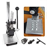Embossers TBVECHI DIY Leather Cutting Imprinting Machine Hole Mute Manual Punching Bronzing Tool DIY Cutting Stitching with Spanner, Drill chuck, PP plate, Aluminum plate with scale for PVC leather PU