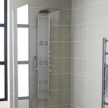 as326 colonne colonne de douche thermostatique hydromassante h zo en acier acier. Black Bedroom Furniture Sets. Home Design Ideas