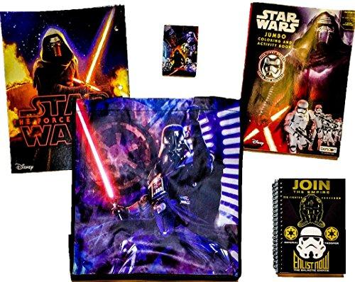 [5 item LIMITED Disney Star Wars Bundle Exclusive [Kylo Ren Coloring Book, Lightsaber Pocket Folder, Galactic Journal, Empire Crayons & Recyclable Tote bag (Lord Vader, GALACTIC] (Star Wars The Force Unleashed 2 Darth Vader Costume Cheat Xbox)