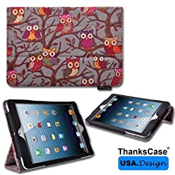 iPad Mini 3 case,Thankscase iPad Mini 3 / iPad Mini 2 Retina / iPad Mini Cover Ultra-slimline Lightweight Smart Owls Canvas Case Cover for Ipad Mini 3 / Ipad Mini 2nd Generation with Smart Cover Feature with Ultra-soft Interi