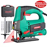 Jigsaw 6.7A 800W HYCHIKA Jig Saw 800-3000SPM Cutting Depth 110mm for Wood with 6 Variable Speeds 4 Orbital Sets Bevel Angle (-45°~45°), 6PCS Blades Carrying Case Wood Metal Plastic Cutting