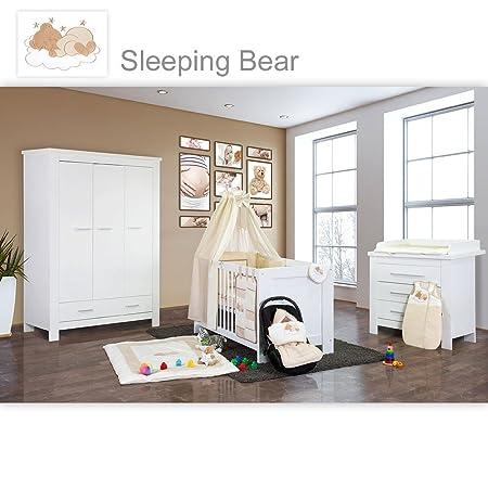 Babyzimmer Enni in weiss 19 tlg. mit 3 turigem Kl. + Textilien Sleeping Bear, Beige