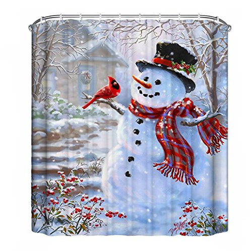 JUNKE Christmas Waterproof Polyester Bathroom Shower Curtain (150cm x 180cm, D) (Canada Shower Curtain compare prices)