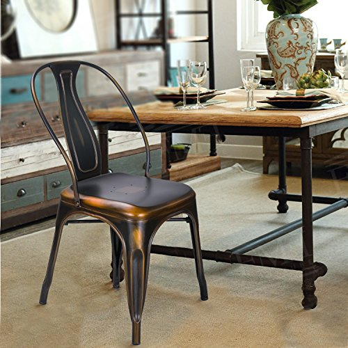 Adeco Metal Stacking Dining Chairs, Vintage Barstool,Black Bronze,set of 2 3