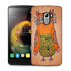 Snoogg cute owl on real cardboard background lacy bird on paper Designer Protective Back Case Cover For Lenovo K4 Note