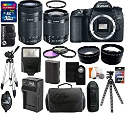 Canon EOS 70D 20.2 MP Digital SLR Camera Body with Dual Pixel CMOS AF and EF-S 18-55mm F3.5-5.6 IS STM Kit + Canon EF-S 55-250mm f/4.0-5.6 IS STM Telephoto Zoom Lens + 32GB Card + Flash + Tripod + Battery and Charger + Case + Filter Kit + Hand Grip + Shut