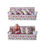 WensLTD Clearance! Lovely Miniature Furniture Sofa Couch With 2 Cushions For Barbie 3 Inch Doll (Color: Multicolor, Tamaño: Size:21x9cm)
