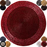 6er-Pack-Glasperlen-Tischset-handgefertigt-36cm-Auswahl-rot-weinrot