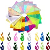16PCS Holographic Fire Flame Nail Stickers - Flame Reflections Nail Art Decals 3D Vinyls Nail Stencil for Nails Manicure Tape Adhesive Foils DIY Decoration