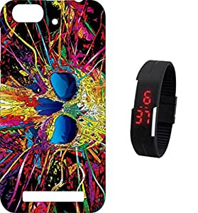 BKDT Marketing Printed Back Cover for Lenovo Vibe C with Digital Watch