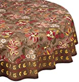 Mahogany Printed Tablecloth, 70-Inch Round, Cocoa with Flowers