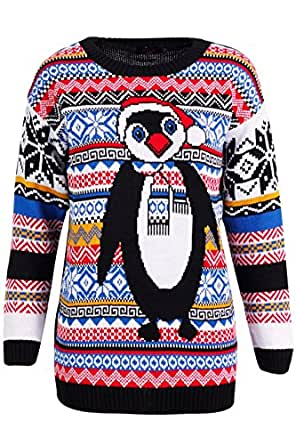 New fairisle penguin christmas jumper 8 18 amazon co uk clothing