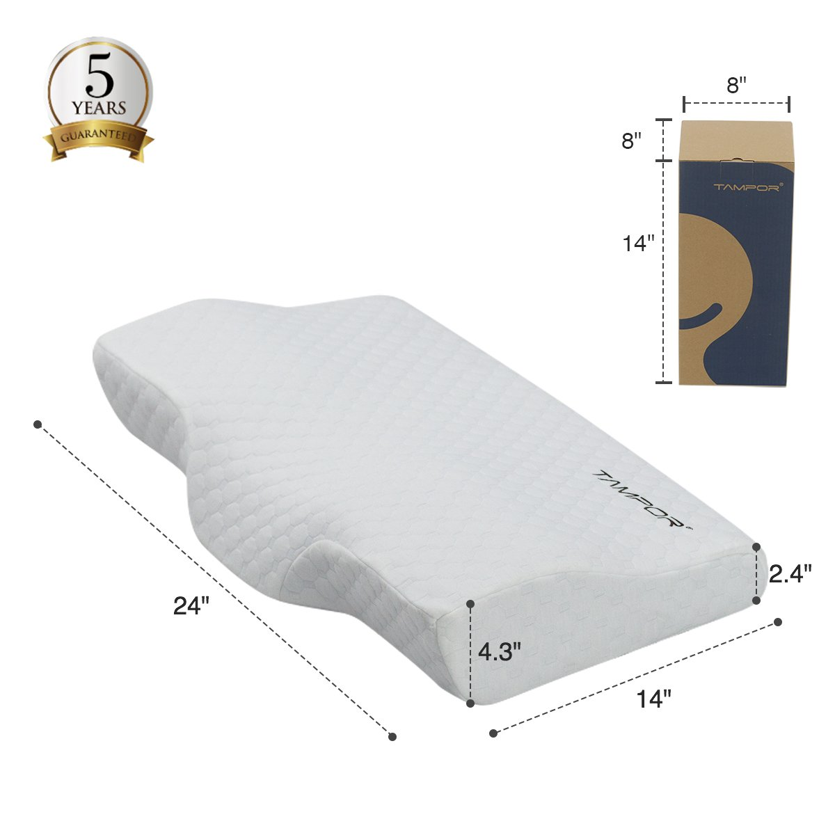 """Memory Foam Pillow Bamboo Charcoal Contour Pillow, Extra Gift Pillow Case, Hypoallergenic Ergonomic Neck Pillow for Neck Support by TAMPOR, Standard 24""""x14""""x4.3"""""""