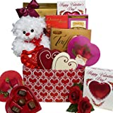 Whole Lot of Love, Hugs and Kisses Chocolate and Candy Gift Box with Teddy Bear - Valentines Day