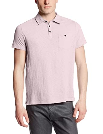 Kenneth Cole New York Men's Polo with Woven Trim, Light Pink, Large