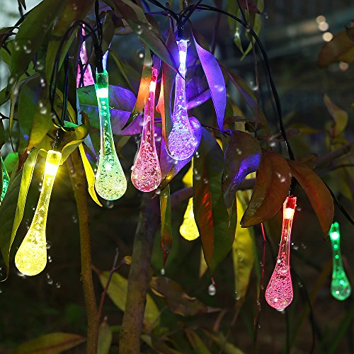 Solar Outdoor String Lights,20 Led Icicle Globe,Patio Light for Garden,Christmas,Wedding,Party, Xmas,Indoor,Path,Proch(Multi Color)