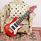 Miniature Dollhouse Furniture Accessories Guitar For Barbies Dolls Toy Wooden Acoustic Guitar Red