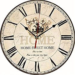 LING'S SHOP Large Vintage Antique Rustic Shabby Chic Wall Clock Home Kitchen Decoration Art (39 Vintage Flower)