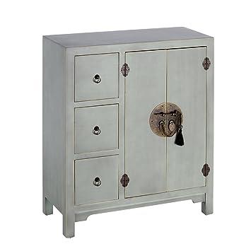 IXIA-Mueble Auxiliar - Cómoda Colección Oriente 2 Puertas y 3 Cajones color Azul Claro - iBERGADA
