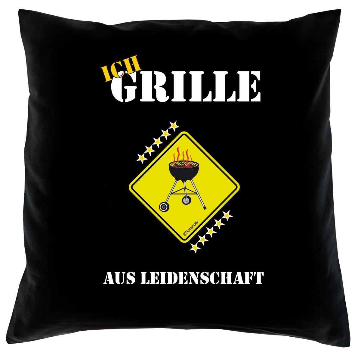 Grill, Griller Kissen, Dekokissen, Sitzkissen, Motiv: Ich Grille! Farbe: Schwarz, Couchkissen, Dekokissen komplett mit Füllung