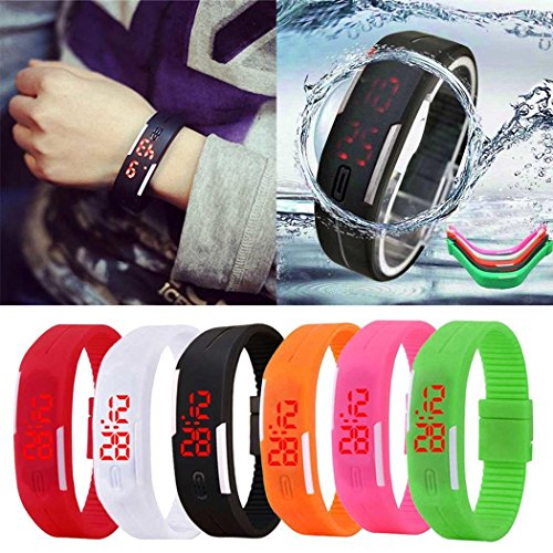 Goodfans LED Wristwatch Electronic Sport Watch Silicone Digital Sport Bracelet Wristwatch 6 Colors
