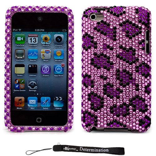 Purple Leopard Luxury Design Premium Crystal Shiny Rhinestone Carrying Cover Protective Case For New Apple Ipod Touch 4 ( 4Th Generation 8Gb, 16Gb, 32Gb )