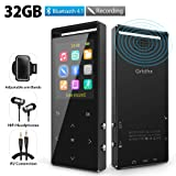 MP3 Player, 32GB MP3 Player with Bluetooth, Hi-Fi Lossless Sound Music Player with FM Radio, Voice Recorder, Pedometer, Expandable up to 128GB TF Card, with Armband and Earphone, Black (Color: 32G-mp3 Bluetooth)
