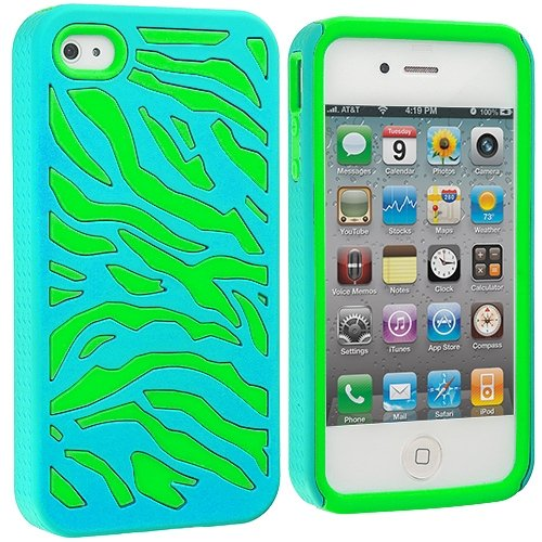 Cell Accessories For Less (Tm) Neon Green / Baby Blue Hybrid Zebra Hard/Soft Case Cover For Apple Iphone 4 / 4S + Bundle (Stylus & Micro Cleaning Cloth) - By Thetargetbuys front-659394