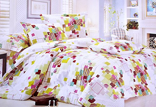 Hashcart Colorful Blocks Cotton Double Bedsheet With 2 Pillow Covers (Bombay Dyeing Bed Sheets compare prices)