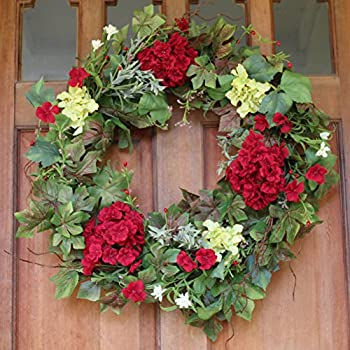 Belmont Silk Decorative Front Door Wreath 24 Inch - Year Round Beautiful Silk Wreath Transforms Front Door Decor, Handcrafted With Care, White Storage Gift Box Included