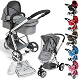 TecTake 3 in 1 Pushchair stroller combi stroller buggy baby jogger travel buggy kid's stroller -different colours- (Grey)