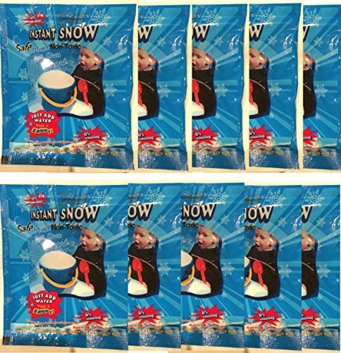 10 Pack - Instant Snow (Tm) Powder, Will Make About 40 Cups of Fluffy Instantly Snow.