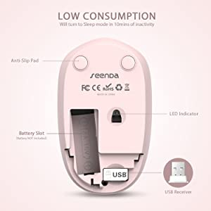 seenda [Upgrade] Wireless Mouse, 2.4G Noiseless Mouse with USB Receiver Portable Computer Mice for PC, Tablet, Laptop and Windows/Mac/Linux - Pink (Color: Pink Wireless Mouse - Upgrade, Tamaño: Portable Wireless Mosue)