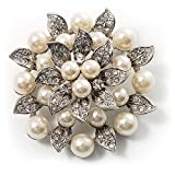 Bridal Synthetic Pearl Floral Brooch (Light Cream)