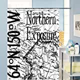 Map of latitude Polyester Bathroom Shower Curtain 72-inch by 72-inch