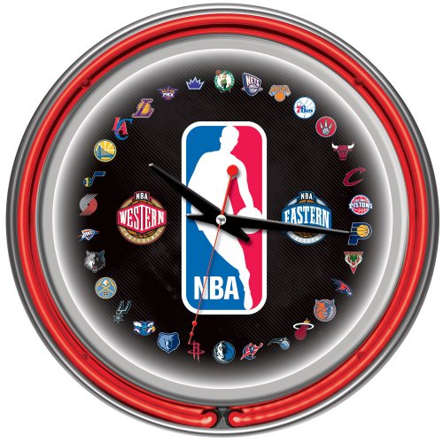 NBA Logo 30 Team Chrome Double Ring Neon Clock, 14-Inch, Red