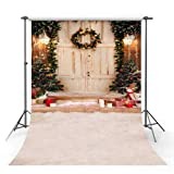 MEHOFOTO Christmas Tree Gifts Photo Studio Background Winter White Snow Door Children Photography Backdrops Props 6x8ft (Color: Wreath, Tamaño: 6x8ft)